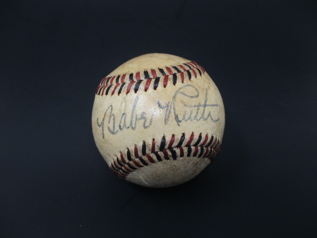 Babe Ruth Single Signed 1930's Black & Red Stitched Baseball