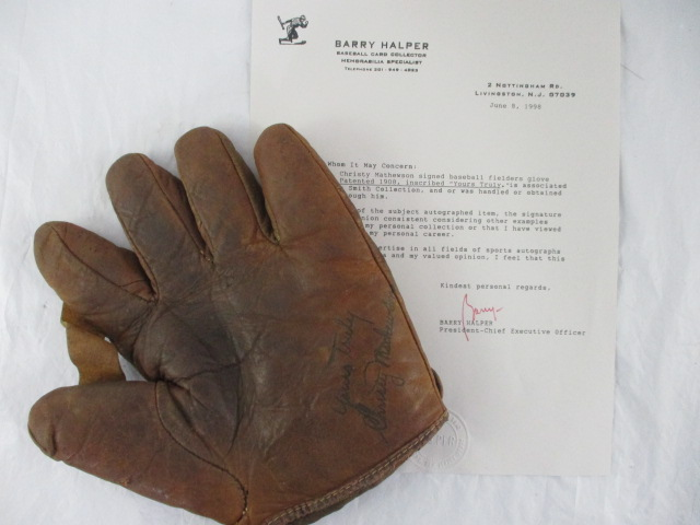 Christy Mathewson Signed Baseball Fielders Glove